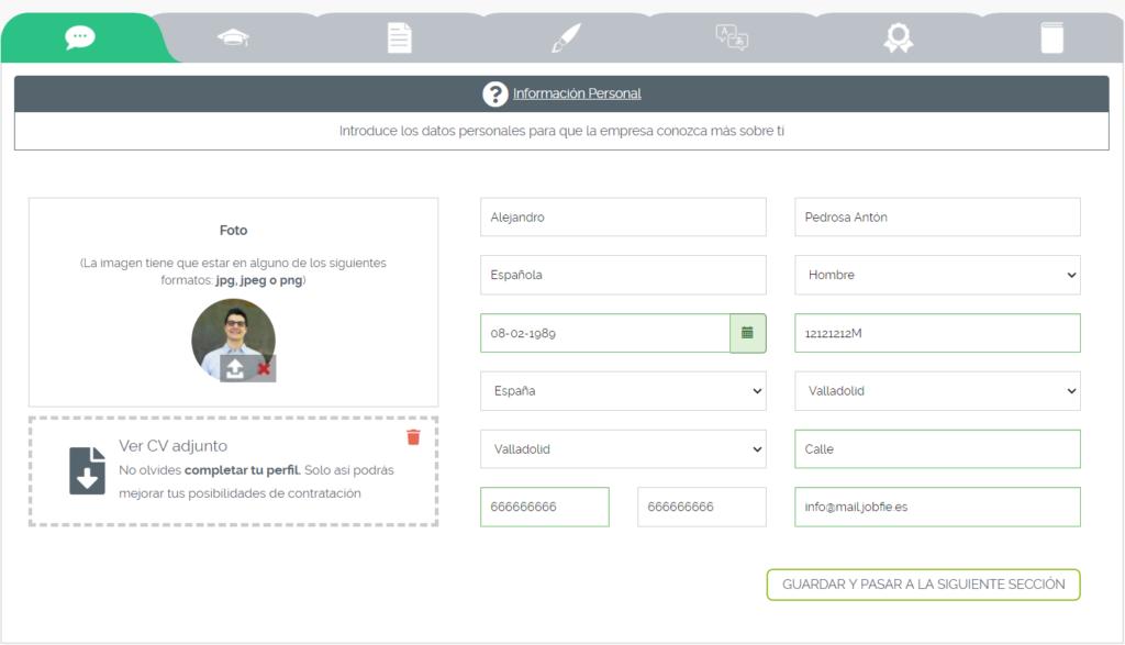 Ejemplo interfaz creación de CV digital